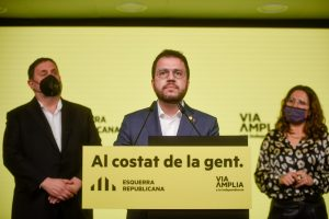 Pere Aragonès celebra la victòria d'ERC. FOTO: Esquerra Republicana